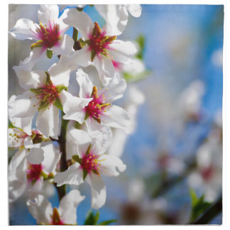 Blossoming tree branch with white flowers napkin