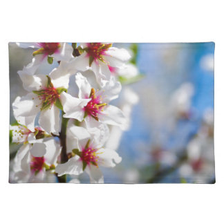Blossoming tree branch with white flowers placemat