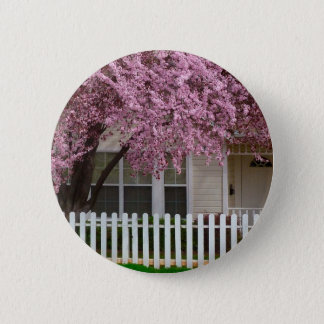 Blossoming Tree in the Suburbs 2 Inch Round Button