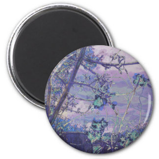 Blossoms Abstract Violet 2 Inch Round Magnet