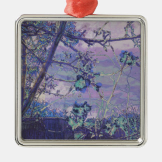 Blossoms Abstract Violet Metal Ornament