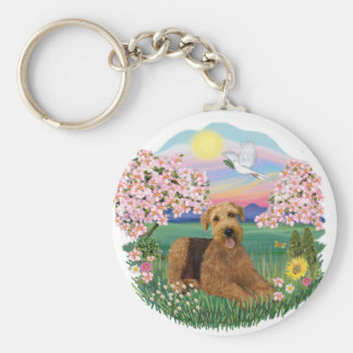 Blossoms - Airedale #5 Basic Round Button Keychain