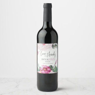 Blossoms and Berries Wedding Raspberry ID476 Wine Label