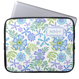 Blossoms of Blue Laptop Computer Sleeves