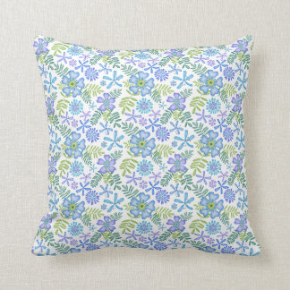 Blossoms of Blue Throw Pillow