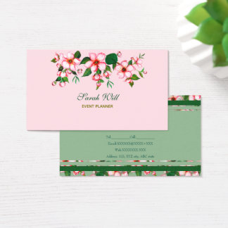 Blossoms pink & green Business Card
