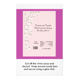 Blossoms Wedding Candy Bar Wrapper Personalized Flyer