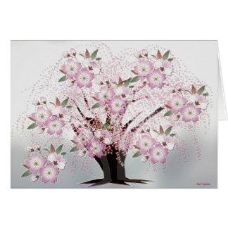 Blossoms White Origami Artwork Card