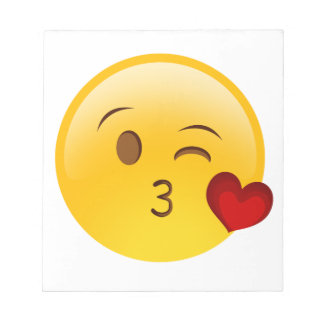 Blow a kiss emoji sticker notepad
