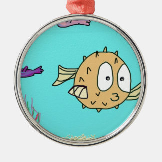 blow fish metal ornament