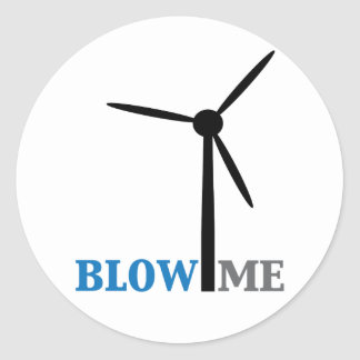 blow me wind turbine classic round sticker