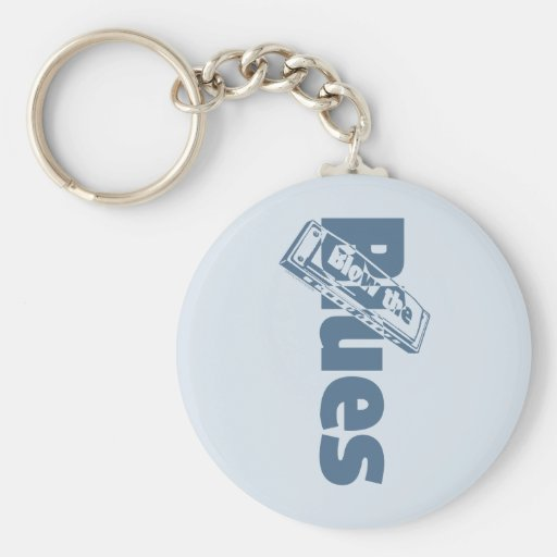 Blow The Blues Basic Round Button Keychain