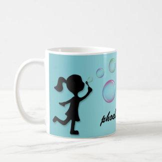 Blowing Bubbles - Aqua Blue Personalized Mug