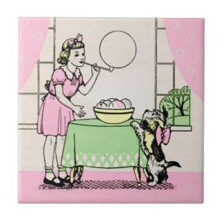 Blowing Bubbles - Art Deco illustration Tile