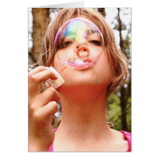 Blowing bubbles blank card