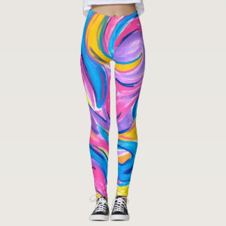 Blowing In The Wind-Abstract Art Brushstrokes Leggings
