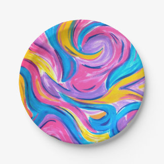 Blowing In The Wind-Abstract Brushstrokes Paper Plate