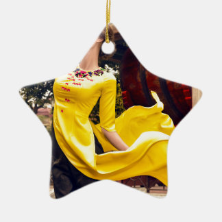 Blowing wind ceramic star ornament
