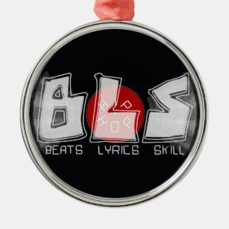BLS vinyl record - beats lyrics skill = HIP HOP Silver-Colored Round Ornament