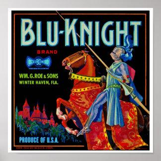 Blu Knight Fruit Label Poster