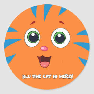 Blu The Cat Round Sticker