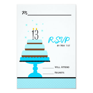 Blue 13th Birthday Cake Party RSVP Card