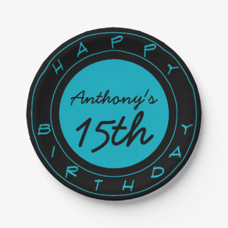 Blue 15th Birthday Party Personalized Paper Plates