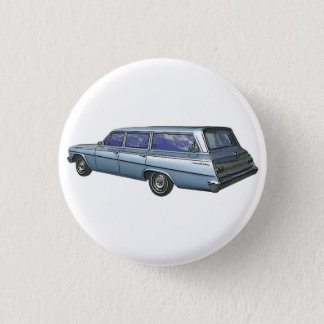 Blue 1962 Chevrolet station wagon. 1 Inch Round Button