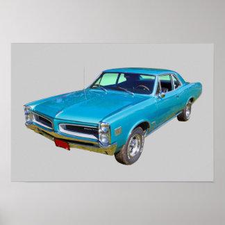 Blue 1966 Pontiac Le Mans Muscle Car Poster