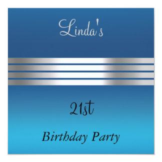 Blue 21st Birthday Party Invitation