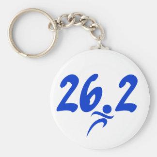 Blue 26.2 marathon basic round button keychain
