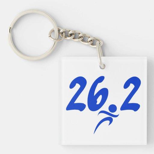 Blue 26.2 marathon square acrylic keychains