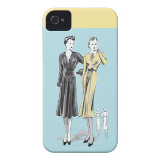 Blue 2 ladies vintage fashion designer print Case-Mate iPhone 4 case