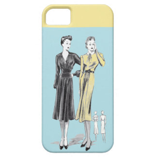 Blue 2 ladies vintage fashion designer print iPhone 5 cover