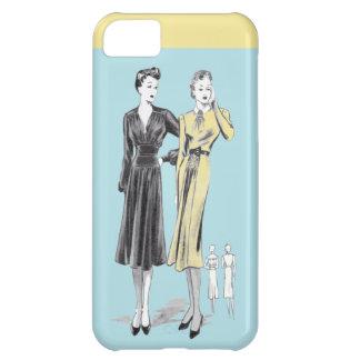 Blue 2 ladies vintage fashion designer print iPhone 5C covers