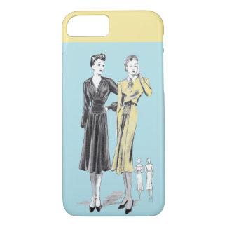 Blue 2 ladies vintage fashion designer print iPhone 8/7 case