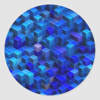 Blue 3D cubes abstract geometric pattern Classic Round Sticker