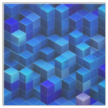 Blue 3D cubes abstract geometric pattern Fabric