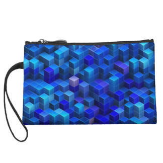 Blue 3D cubes abstract geometric pattern Wristlet