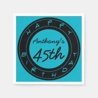 Blue 45th Birthday Party Personalized Paper Napkin
