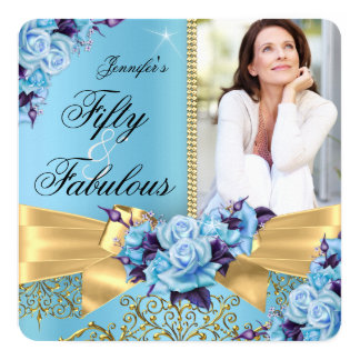 Blue 50 & Fabulous Photo Gold Rose Bow Birthday Card