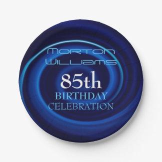 Blue 85th Birthday Celebration Paper Plates