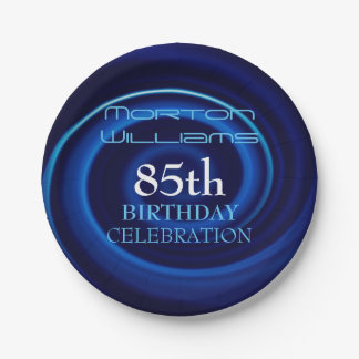 Blue 85th Birthday Celebration Paper Plates 7 Inch Paper Plate