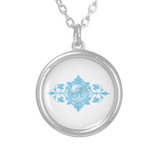 """Blue """"A"""" Monogram Silver Plated Necklace"""