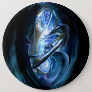 Blue Abstract 6 Inch Round Button