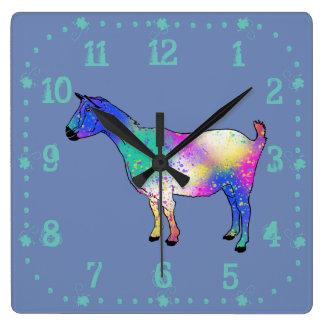 Blue Abstract Art Goat Colourful Animal Design Clocks