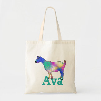 Blue Abstract Art Goat Design with Your Name Tote Bag