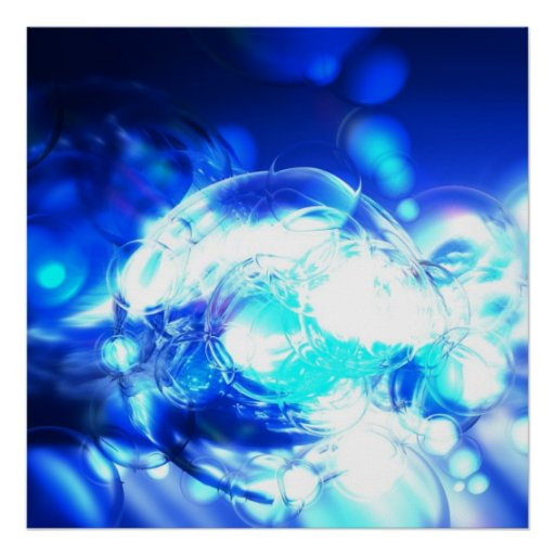 Blue Abstract Art Poster Print Lights & Effects