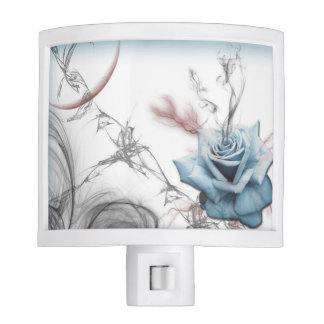 Blue Abstract Barbwire Rose Nite Light