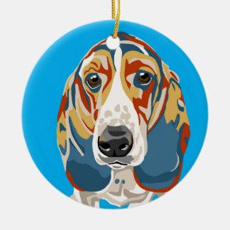 Blue Abstract Basset Hound Ceramic Ornament